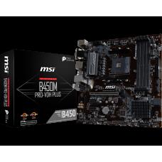 Материнская плата MSI B450M PRO-VDH PLUS, SocketAM4, AMD B450, 4xDDR4, PCI-Ex16, 4SATA3, 7.1-ch, GLAN, 6USB 3.1, VGA, DVI, HDMI, microATX, Retail