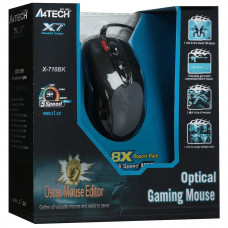 Мышь A4Tech X-710BK, 2000dpi, оптическая светодиодная, USB, черный