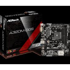 Материнская плата ASRock A320M-DGS, SocketAM4, AMD A320, 2DDR4, PCI-Ex16, 4SATA3, M.2, 7.1-ch, GLAN, 4USB 3.0, DVI, mATX, Retail